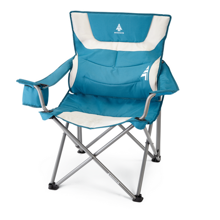 key features Woods Full Back Comfort Deluxe Lumbar Folding Camping Chair - Blue