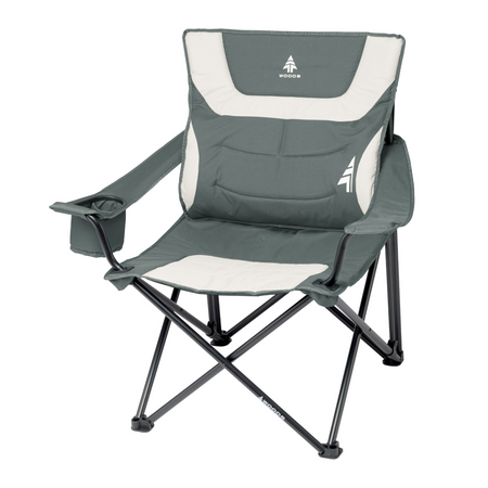 key features Woods Full Back Comfort Deluxe Lumbar Folding Camping Chair - Gray