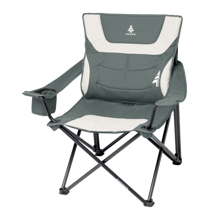 Woods Full Back Comfort Deluxe Lumbar Folding Camping Chair - Gray