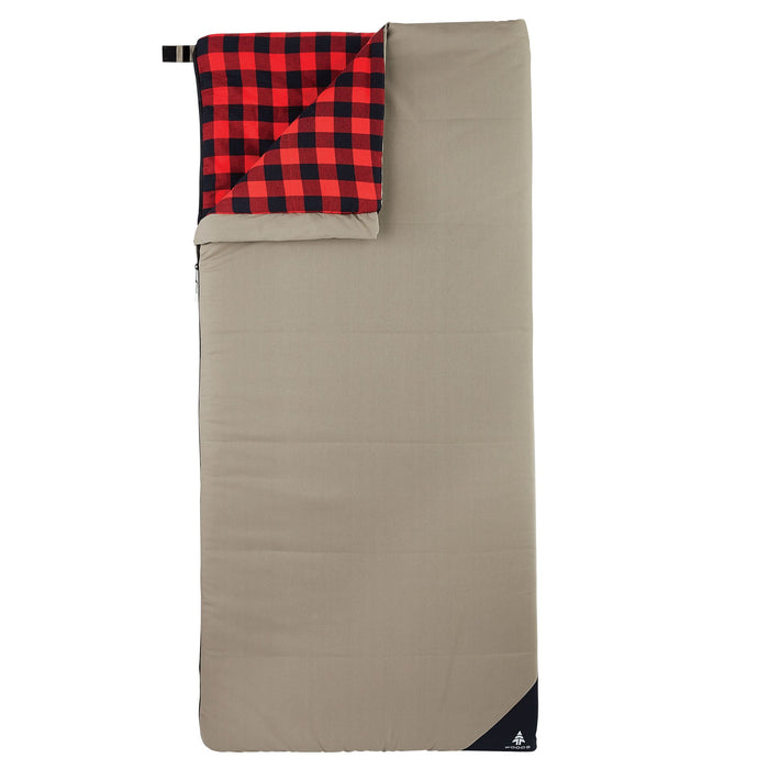 Woods Heritage Cotton Flannel Camping Sleeping Bag: 14 Degree Cold Weather