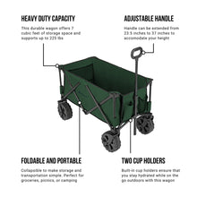 Load image into Gallery viewer, Woods Outdoor Collapsible Utility King Wagon - 225 lbs Capacity - Green