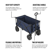 Load image into Gallery viewer, Woods Outdoor Collapsible Utility King Wagon - 225 lbs Capacity - Navy