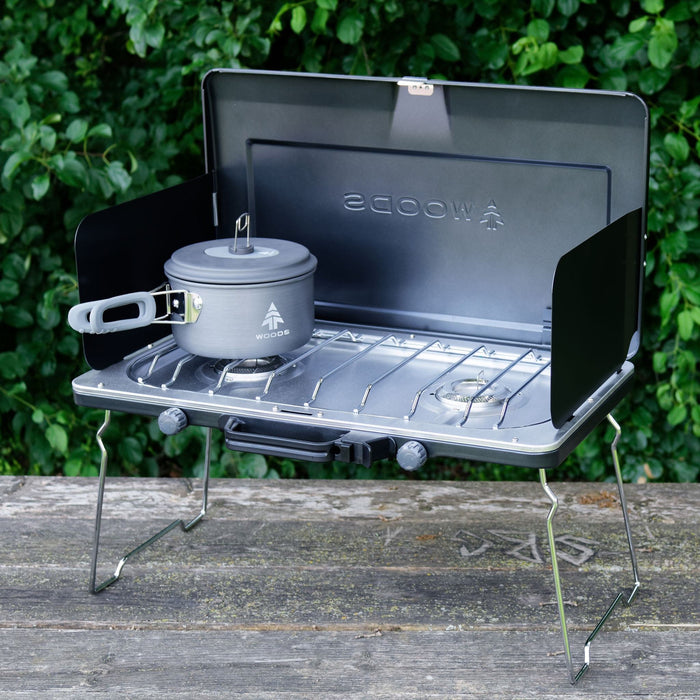 Woods Portable Multi-Fuel Camping Stove With 2 Burners