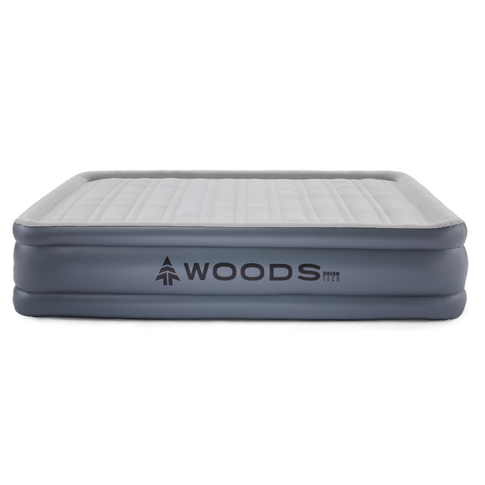 Woods Queen Comfort Flocked DreamTech Double-High Elevated Camping Air Mattress / Airbed  with Built-In 110V Electric Pump