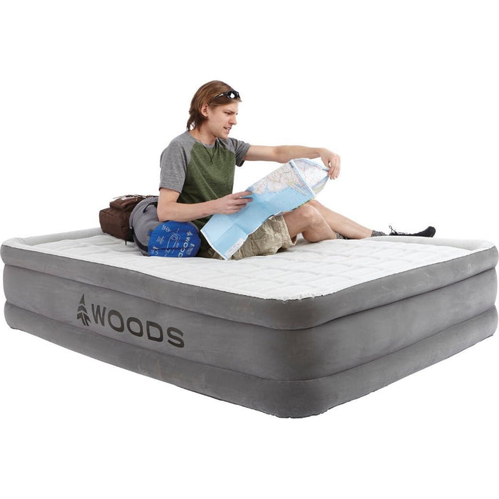 Woods Queen Comfort Flocked DreamTech I-Beam Double-High Elevated Camping Air Mattress / Airbed with Built-in 110V Electric Pump