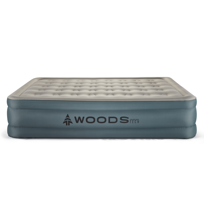Woods Queen Comfort Flocked TrueSleep Tech Double-High Elevated Camping Air Mattress / Airbed with Built-In 110V Electric Pump