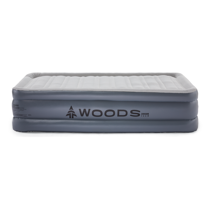 Woods Twin Comfort Flocked DreamTech Double-High Elevated Camping Air Mattress / Airbed with Built-In 110V Electric Pump