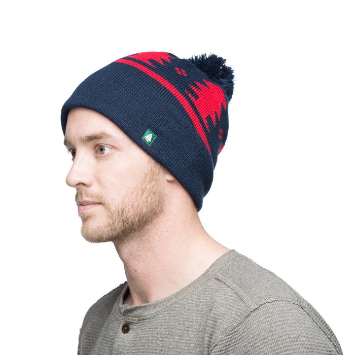 Woods Woodsy Beanie Slouchy Knit Hat - Navy/ Red