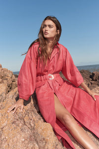 Marindia linen-blend trench