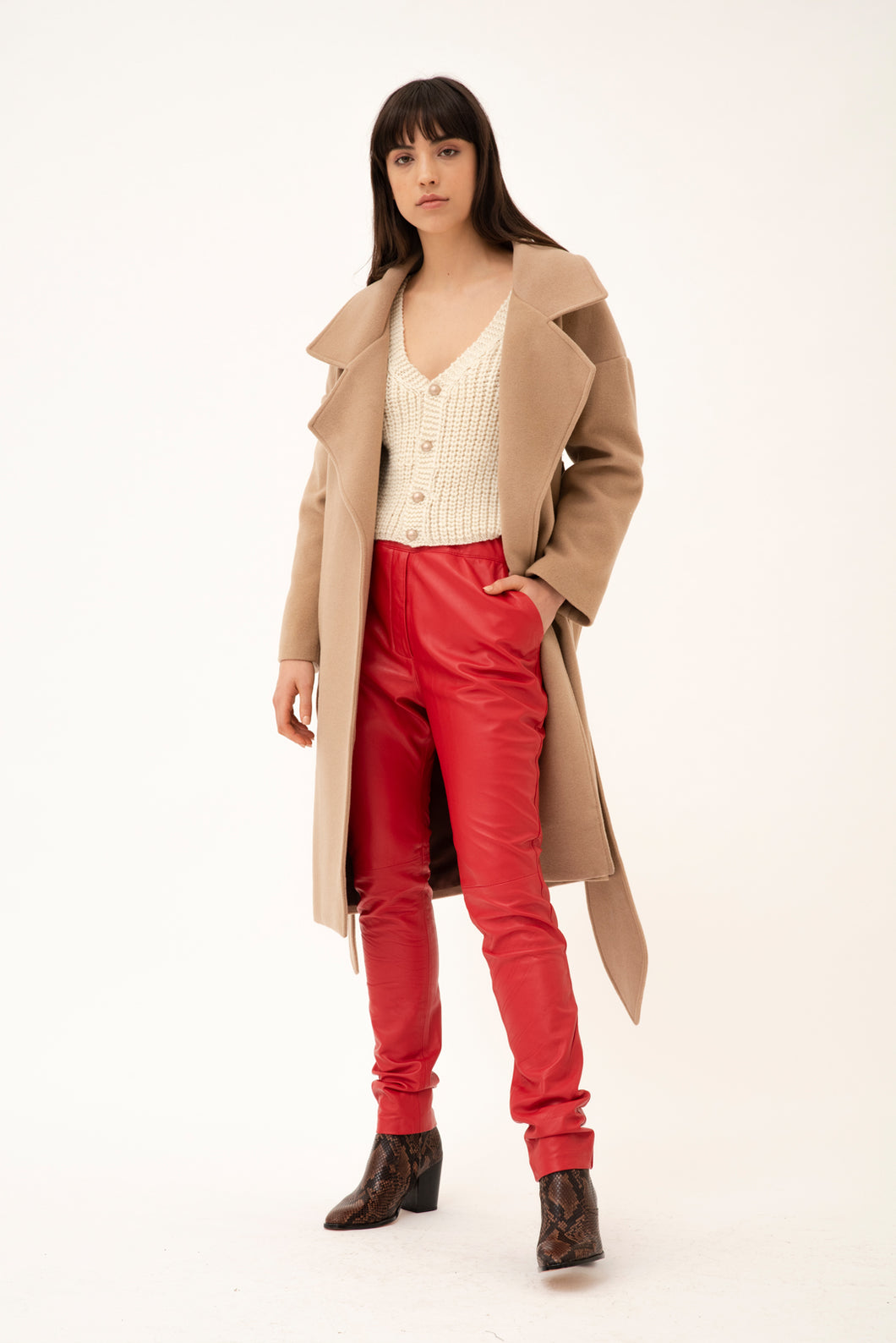 Yatay relaxed leather trousers - Red