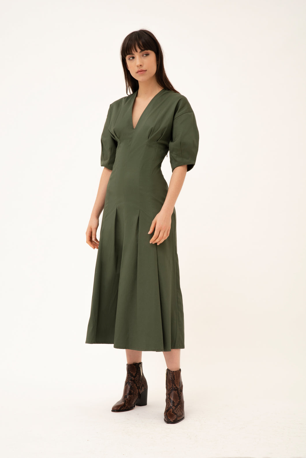 Neptunia cotton dress - Olive green