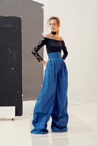 Liv palazzo trousers in silk shantung