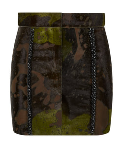 Margay mini skirt in hide leather
