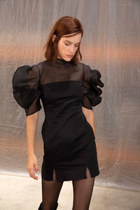 Salma dress with organza sleeves