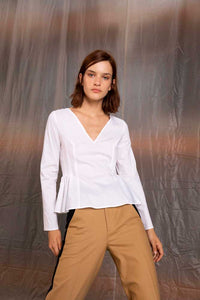 Ari pleated blouse - White