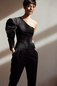 Gobi one shoulder blouse - Black