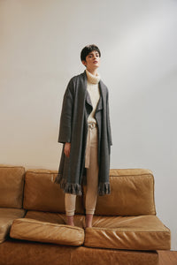Folke oversized coat in wool & lurex - Taupe
