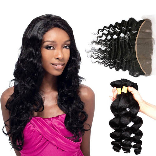 Hairocracy Premium Virgin Remy Human Loose Wave- 3 Bundles With 13x4 Frontal Closure