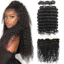 Load image into Gallery viewer, Hairocracy Premium Virgin Remy Human Deep Wave- 3 Bundles With 13x4 Frontal Closure- Hair Extention Weave