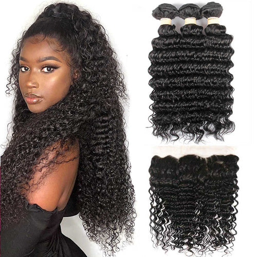 Hairocracy Premium Virgin Remy Human Deep Wave- 3 Bundles With 13x4 Frontal Closure- Hair Extention Weave