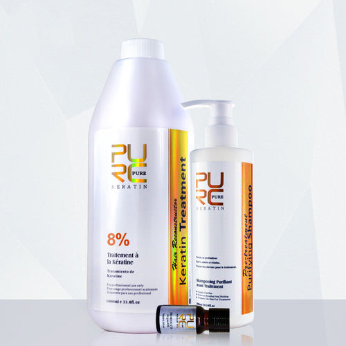Brazilian 8% Keratin treatment with 300ml purifying shampoo and Pure Argan Oil