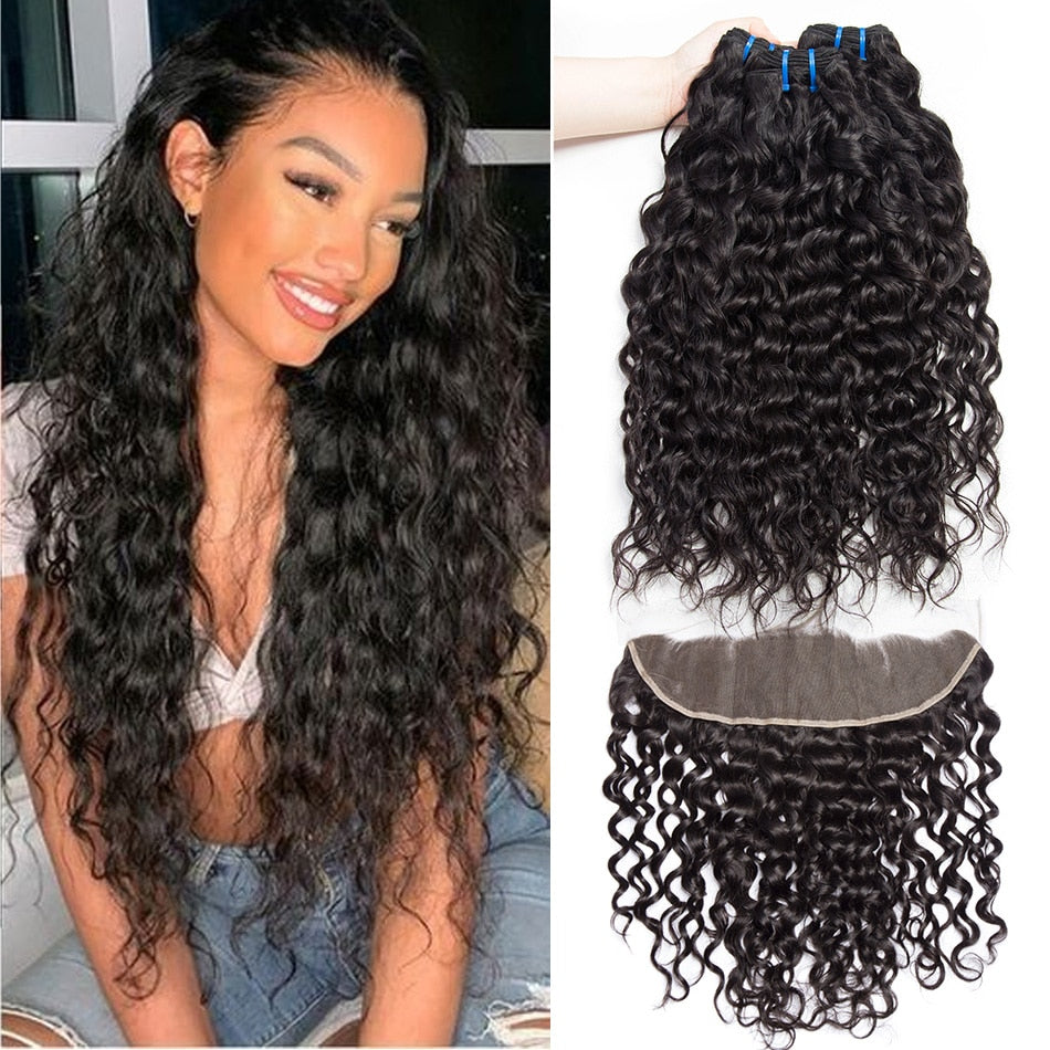 Hairocracy Premium Water Wave 3 Bundles With 13x4 Frontal Closure