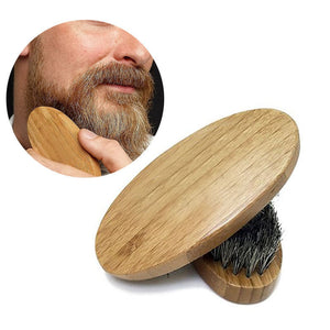 Mens Boar Hair Bristle Hard Round Wood Handle Beard Mustache Brush
