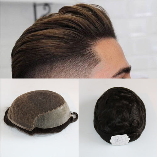 Hairocracy Human Hair Durable Hairpieces Lace Thin PU Replacement System For Men Toupees