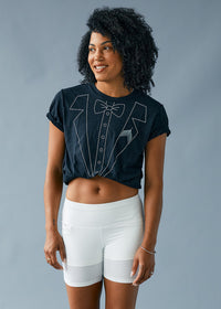 Model : Karelle - Size SM, Karelle is 5'7 | PRIMARY | BLACK HEATHER
