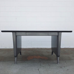 Allsteel Brushed Steel Panel Leg Table