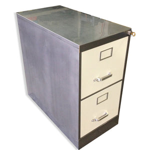 "18"" Legal Size 2 Drawer Vintage Steel Vertical File Cabinet"