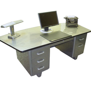 "Allsteel Equipment 84"" Fan Top Tanker Desk"