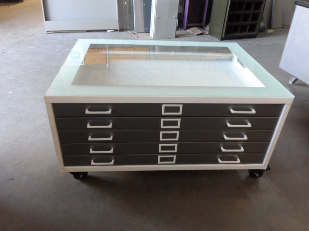 - Small Size Steel Flat File Coffee Table - Retro Office Inc