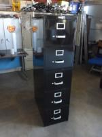 "15"" Letter Size 5 Drawer Vintage Steel Vertical File Cabinet"