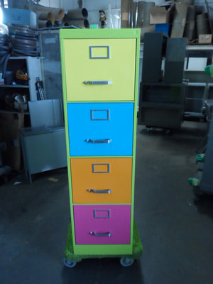 "18"" Legal Size 4 Drawer Vintage Steel Vertical File Cabinet"