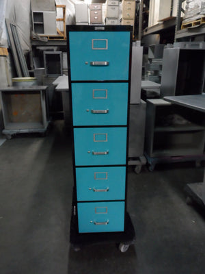 "18"" Legal Size 5 Drawer Vintage Steel Vertical File Cabinet"