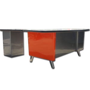 "84"" Allsteel Fan Top Tanker Desk With Return"