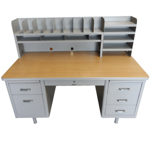 "McDowell & Craig 60"" Vintage Tanker Desk With Hutch"