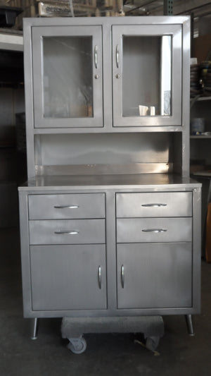 Vintage Brushed Steel Medical Cabinet (Rare)