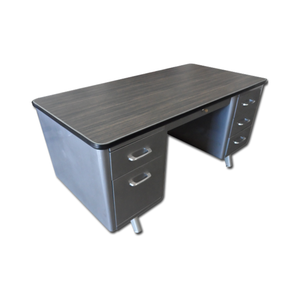 "Shaw Walker 60"" Brushed Steel Tanker Desk"