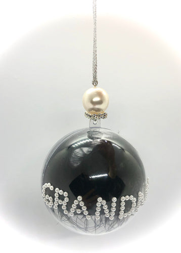Pearl & Black Feather Bauble