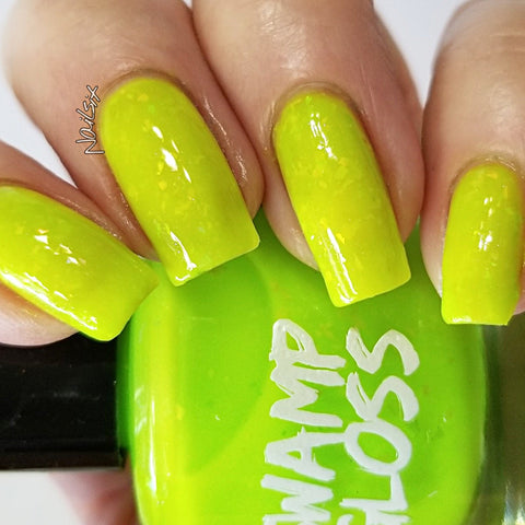 Neon polish, yellow, swamp gloss, indie Polish, flakies, glow