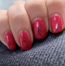 Load image into Gallery viewer, rise of the guardians nail polish, swamp gloss, red holographic, red polish, multichrome flakes, blue purple flakes, crelly, flake polish, st north