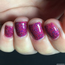 Load image into Gallery viewer, Killing Eve, nail polish, swamp gloss, holographic, purple, red, glitter,