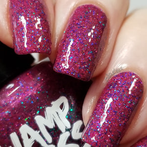 Killing Eve, nail polish, swamp gloss, holographic, purple, red, glitter,