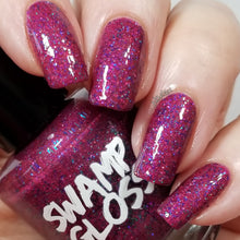 Load image into Gallery viewer, Killing Eve, nail polish, swamp gloss, holographic, purple, red, glitter, nailsit,