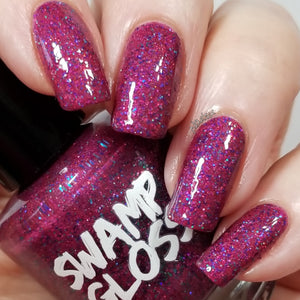 Killing Eve, nail polish, swamp gloss, holographic, purple, red, glitter, nailsit,