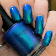Load image into Gallery viewer, nail polish, swamp gloss, multichrome, green, blue, purple, aurora borealis, indie polish, holographic,