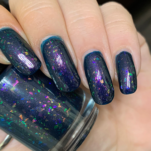 barry nail polish, flakie polish, jelly polish, fandom polish, darkened teal jelly, pink hold green, purple red gold, swamp gloss, indie polish, crystal chameleon, red gold green