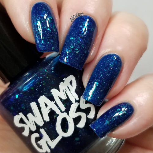brooklyn 99 nail polish, blue, jelly, crystal chameleon, colorshift, flakie, swamp gloss